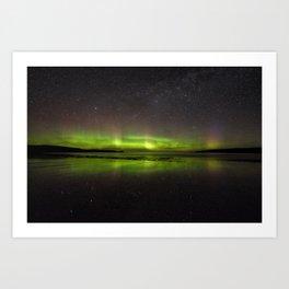 Shawbost shore aurora and stars reflected.  Art Print
