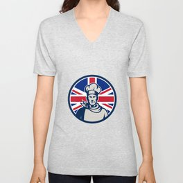 British Baker Chef Union Jack Flag Icon Unisex V-Neck
