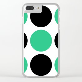 Mid Century Modern Polka Dot Pattern 9 Black and Green Clear iPhone Case