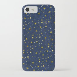 Golden Stars on Blue Background iPhone Case