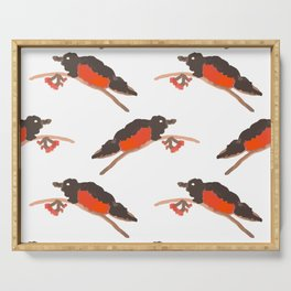 Watercolor seamless pattern of bullfinch on the branch with rowan. Serving Tray