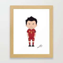 Xavi Hernandez - Spain - World Cup 2014 Jersey Framed Art Print