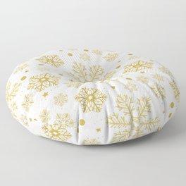 Golden snowflakes Floor Pillow