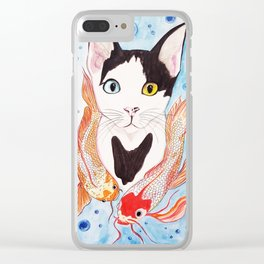Cat and koi Clear iPhone Case