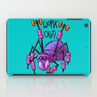 workout iPad Cases featuring Workout Spider by Artistic Dyslexia