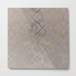 Modern elegant gray gold foil geometrical gradient Metal Print