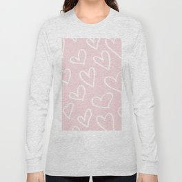 Pink & White-Love Heart Pattern-Mix & Match with Simplicty of life Long Sleeve T-shirt