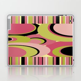 Contemporary Circles and Stripes Pattern in Hot Pink Neon Green and Black Laptop & iPad Skin