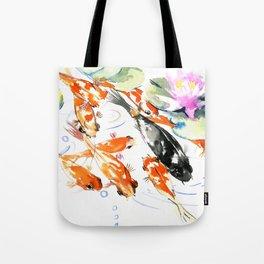 Nine Koi Fish, 9 KOI, feng shui artwork asian watercolor ink painting Tote Bag