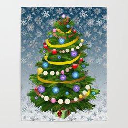 Christmas tree & snow Poster