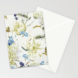 Antique White Flower Pattern with Blue Accents Stationery Cards