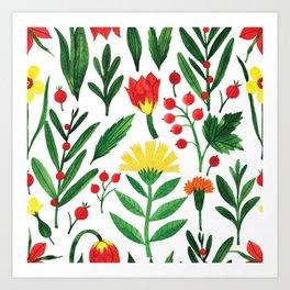 Botanic Watercolor Collection #14 Art Print