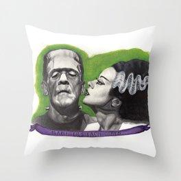 Watercolor Painting of Frankenstein & Bride Throw Pillow