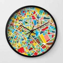 Happy city map Wall Clock