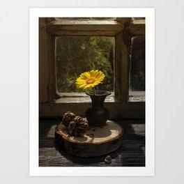Calendula - yellow summer flower Art Print