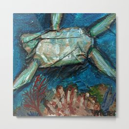 Sea Turtle upside down underwater Metal Print