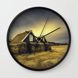 Old Huts Wall Clock