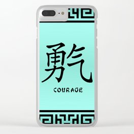 "Symbol ""Courage"" in Green Chinese Calligraphy Clear iPhone Case"