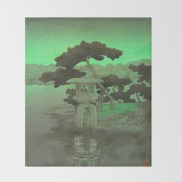 Kawase Hasui Vintage Japanese Woodblock Print Glowing Green Neon Sky Over A Zen Garden Shrine Throw Blanket