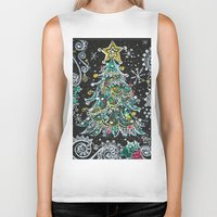 christmas tree Biker Tanks featuring Christmas Tree by Teri Newberry