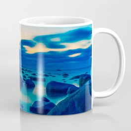 Foggy and stones in the ocean night view Coffee Mug
