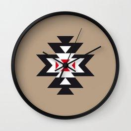 Navajo Aztec Pattern Black White Red on Light Brown Wall Clock
