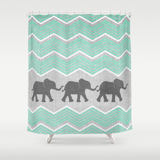Three Elephants - Teal and White Chevron on Grey Shower Curtain