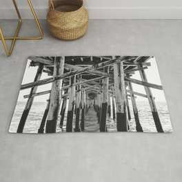 Balboa Pier Print {3 of 3} | Newport Beach Ocean Photography B&W Summer Sun Wave Art Rug
