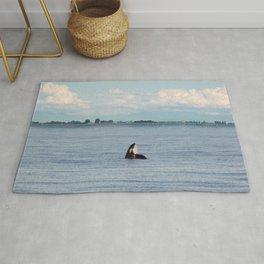 Orca in the Ocean Rug