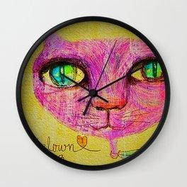 Pink Cat Wall Clock