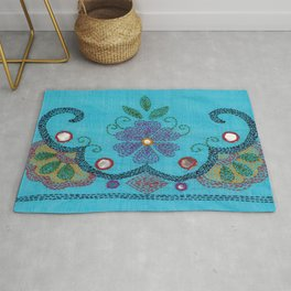 Kantha Fabric Art On Turquoise Pure Silk Rug
