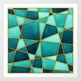 Aquamarine Watercolor Skewed Color Blocks Art Print