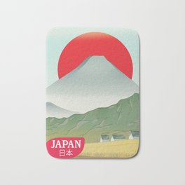 Japan mountain vintage style travel poster Bath Mat