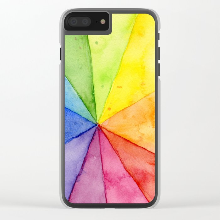 Rainbow Watercolor Geometric Pattern Clear iPhone Case