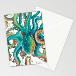 Teal Octopus Tentacles Vintage Map Nautical Stationery Cards
