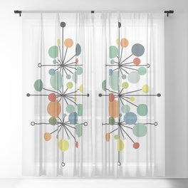 Atomic Age Nuclear Abstract Motif — Mid Century Modern Pattern Sheer Curtain