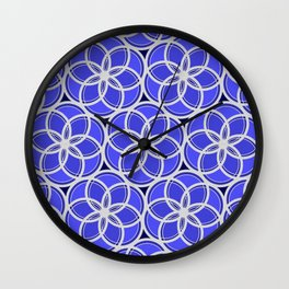 Silver Foil Floral Circles Geometric Nature in Blue Light Wall Clock