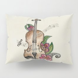 Violin and Flowers Pillow Sham