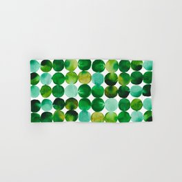 Green Watercolor Circles Pattern Hand & Bath Towel