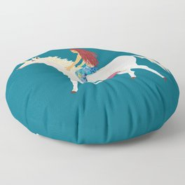 Red Haired Mermaid Rides the Unicorn Floor Pillow