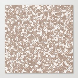 Warm Taupe Pixels Canvas Print