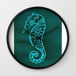 Green Seahorse with Teal and  Aqua and turquoise Wall Clock
