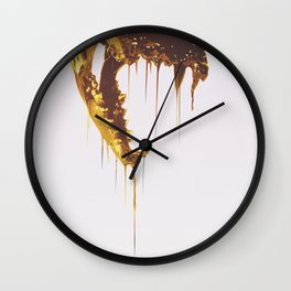 Painted Skull Gold Wall Clock