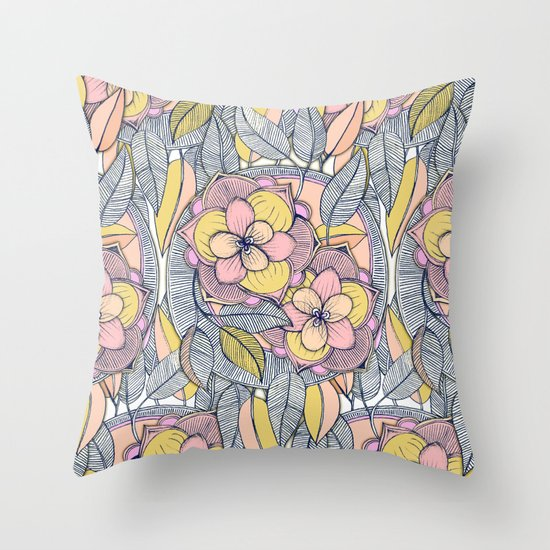 Pink and Peach Linework Floral Pattern Throw Pillow