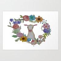 Goat n' Flowers Art Print