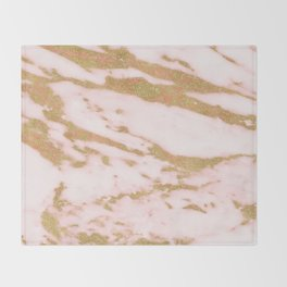 Pink marble with gold sparkles Throw Blanket
