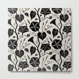 Black Moonflower creeper on neutral Metal Print
