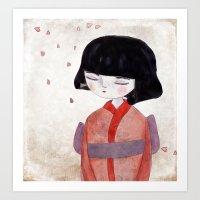 sakura Art Prints featuring Sakura by munieca