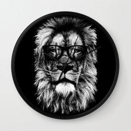 Hipster Lion Black Wall Clock