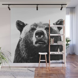 Black and white bear portrait Wall Mural